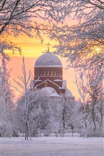 Preview iPhone wallpaper Saint Petersburg, Russia, church, snow, trees, winter