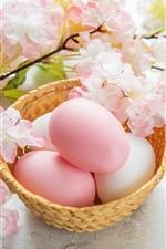 Preview iPhone wallpaper Sakura, pink flowers, eggs, Happy Easter