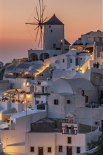 Preview iPhone wallpaper Santorini, Greece, houses, night, lights
