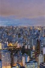 iPhone fondos de pantalla Sao Paulo, Brasil, ciudad, vista superior, luces, noche
