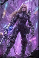 Preview iPhone wallpaper Sci-fiction, robot, weapons, city, art picture
