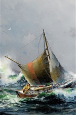 Preview iPhone wallpaper Sea and ships, oil painting