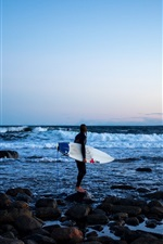 Preview iPhone wallpaper Sea, coast, girl, surfer, surfboard, extreme sport, rocks