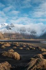 Vorschau des iPhone Hintergrundbilder Meer, Berge, Schnee, Gras, Naturlandschaft