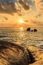 Preview iPhone wallpaper Sea, rocks, clouds, sunset