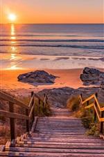 Sea, shore, beach, wood ladder, sunset
