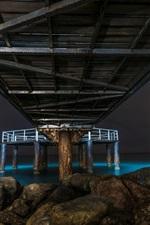 Preview iPhone wallpaper Sea, under bridge, stones, night
