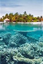 Preview iPhone wallpaper Sea, underwater, corals, island, resort