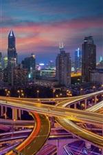 iPhone fondos de pantalla Shanghai, ciudad, noche, camino, luces, rascacielos, China