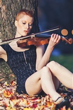 Preview iPhone wallpaper Short hair girl play violin, under tree