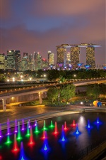 Preview iPhone wallpaper Singapore, city night, colorful lights, roads