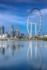 Singapore, ferris wheel, city, river, water reflection