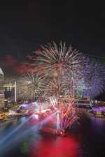 Singapore, night, city, bay, lights, fireworks