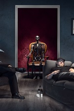 Esqueleto, máscara, pessoas, sala, criativa