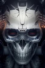 Preview iPhone wallpaper Skull, robot, creative design