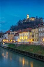 Preview iPhone wallpaper Slovenia, Ljubljana, river, evening, lights