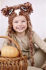 Preview iPhone wallpaper Smile child, pumpkin, basket