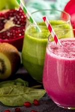 Preview iPhone wallpaper Smoothies, fruit drinks, lime, kiwi, pomegranate