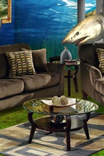 Preview iPhone wallpaper Sofa, windows, underwater, shark, creative design