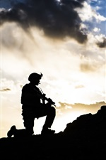 Soldiers, army, silhouette
