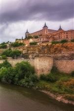 Spain, Toledo, river, castle, trees, bridge