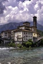 Spain, village, river, bridge