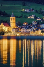 St. Wolfgang, Austria, city, night, houses, lights, river, water reflection