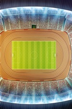 Preview iPhone wallpaper Stadium, football, top view, night, 3D design