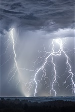 iPhone обои Гроза, молния, облака, Германия
