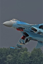 Preview iPhone wallpaper Su-27 Flanker combat aircraft, take off