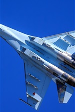 Preview iPhone wallpaper Su-35 multipurpose fighter flight, blue sky