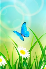 Preview iPhone wallpaper Summer, grass, flowers, butterfly, art picture