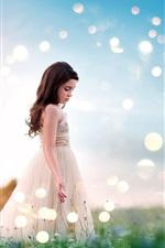 Preview iPhone wallpaper Summer, little girl, skirt, grass, glare