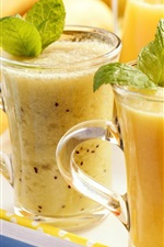 Summer smoothies, fruit drinks, glass cups