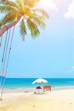 Preview iPhone wallpaper Summer, tropical, palm trees, beach, sea