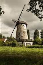 Preview iPhone wallpaper Summer, windmill, fields, trees, village