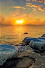 Preview iPhone wallpaper Sunset, ice, lake, morning, fog, winter