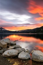 Preview iPhone wallpaper Sunset, lake, stones, mountains