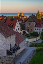 Suécia, Visby, casas, mar
