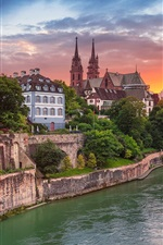 Preview iPhone wallpaper Switzerland, Basel, river, promenade, city, houses, sunset