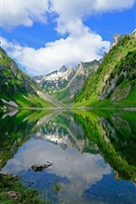 Preview iPhone wallpaper Switzerland, lake, mountains, beautiful nature landscape