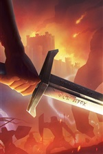 Preview iPhone wallpaper Sword, fire, game