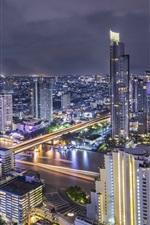 Preview iPhone wallpaper Thailand, Bangkok, beautiful city night, river, bridge, lights, skyscrapers