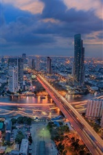 Thailand, Bangkok, city night, skyscrapers, roads, lights