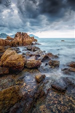 Preview iPhone wallpaper Thailand, Chanthaburi, stones, trees, sea, clouds