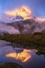 iPhone обои Гималаи, озеро, трава, туман