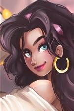 The Hunchback of Notre Dame, Esmeralda, blue eyes anime girl
