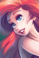 Preview iPhone wallpaper The Little Mermaid, red hair, blue eyes