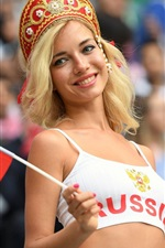 Preview iPhone wallpaper The World Cup, smile Russian girl, flag