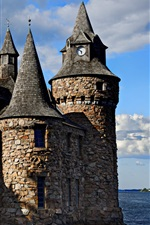 Preview iPhone wallpaper Thousand Islands, Boldt Castle, trees, sea, USA